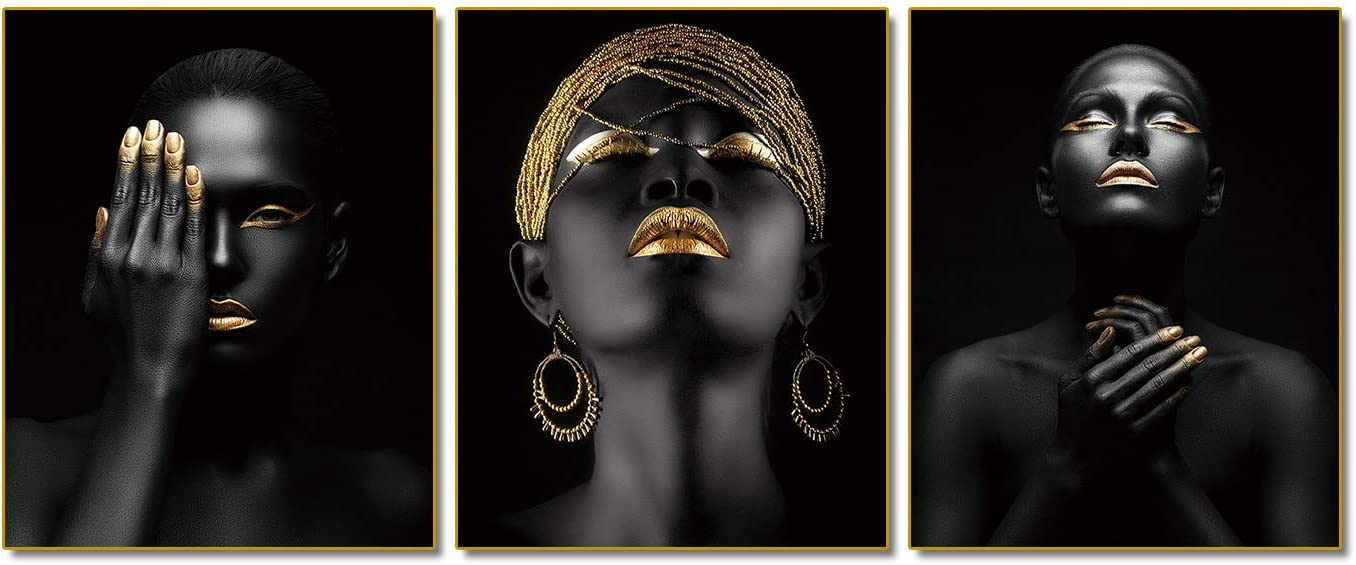 "African American Wall Art Painting Black Woman Fashion Pop Gold Earrings Black Set of 3 (8""X10"" Canvas Picture) Queen Portrait of Black Woman Room Poster Art Painting Bedroom for Home Decor Gift"