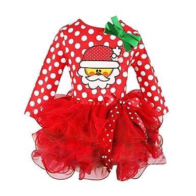 44d2bc183bb3 VICGREY ❤ Vestito del Puntino di Natale di Nuovo Anno di Natale Set di  Neonate di
