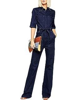 c8e3c017034 ASMAX HaoDuoYi Women Denim Wide Leg Pants Tie Front Half Sleeve Jumpsuit