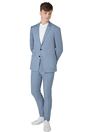 Nuptial Costume Homme pour Mariage Affaires 2018 Couleur Unie Bleu 2 Pièces  Veste Pantalons 9b78b0e18f69