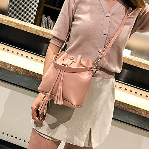 Pu Bags Wildlead Messenger Bucket Small Drawstring Women Pink Handbag Crossbody Leather Bag Tassel rPnPTq8wO1