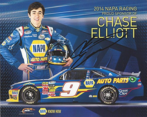 (AUTOGRAPHED 2014 Chase Elliott #9 NAPA AUTO PARTS RACING (Jr Motorsports) Nationwide Series Champion ROOKIE 8X10 Inch Signed Picture NASCAR Hero Card with COA)