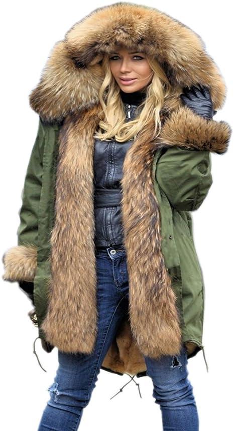 TALLA 42. Aox - Abrigo y Chaqueta de Piel sintética con Capucha para Mujer, Estilo Elegante, Color Negro, Acolchado, para Deportes al Aire Libre, Largo