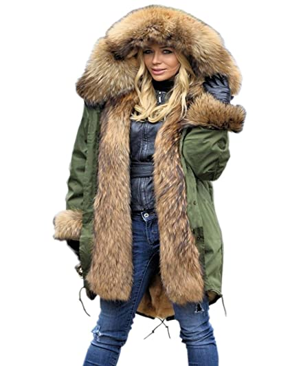 4247600ad Aox Women Winter Faux Fur Hood Warm Thicken Coat Lady Casual Plus ...