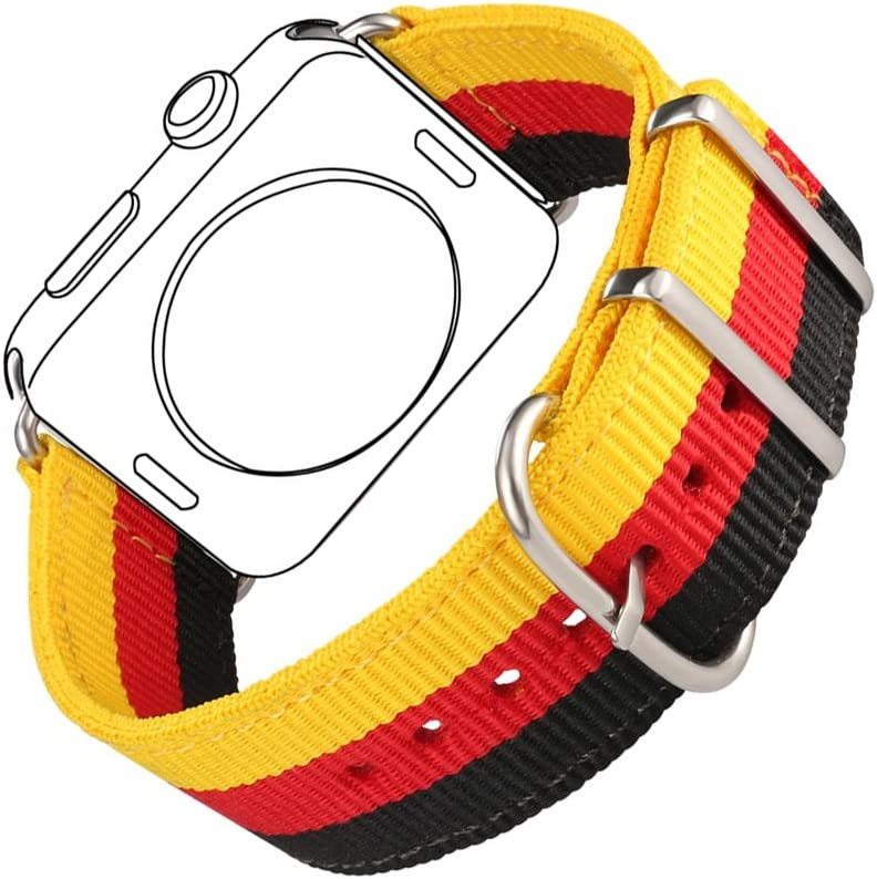 Bandmax Nylon Band Compatible For Apple Watch 42MM/44MM,Germany Flag Fabrics Strap Replacement Accessories Compatible For iWatch Series 5/4/3/2/1 mix Stainless Steel Classic Buckle(Flag of Germany)