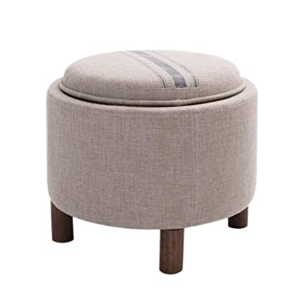 Merveilleux Home Furniture Footstools Round Storage Ottoman,Linen Upholstered Footstool  With Removable Lid Multi Functional