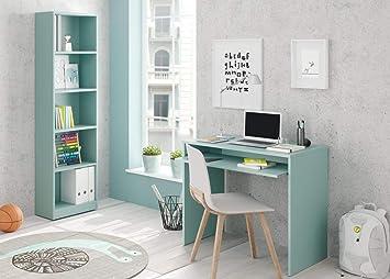 SUENOSZZZ - Conjunto Mesa de Escritorio para Ordenador/Estudio y estanteria, Color Turquesa. Escritorios Juveniles para Dormitorio Infantil. Muebles ...