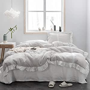 Simple&Opulence 100% Linen Duvet Cover Set (68''x86'') Frill Floral Flax Twin Size, Shabby Chic Ruffle Edge with Lace Insert Decoration, 2 Piece Farmhouse Bedding-1 Comforter Cover and 1 Pillow Sham, Floral Grey