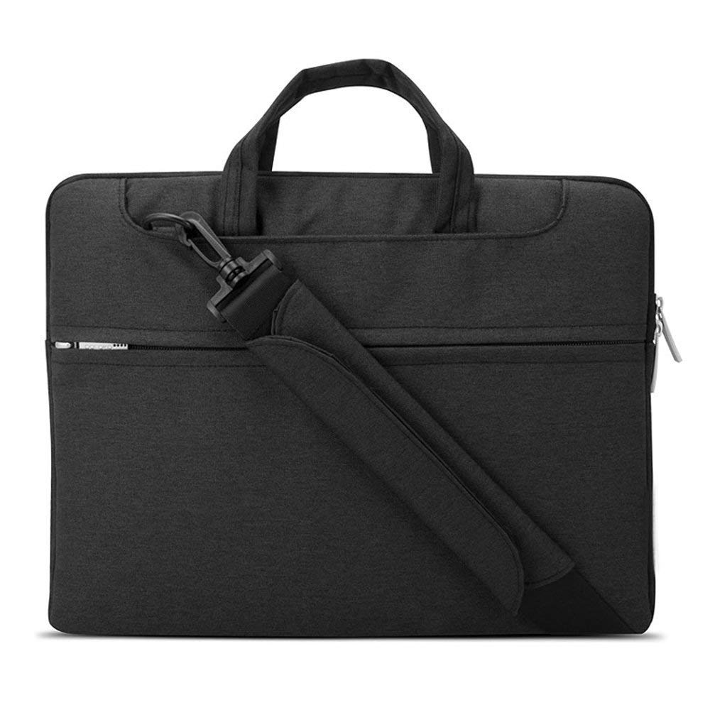 "Lacdo 15.6 Inch Waterproof Fabric Laptop Shoulder Bag Notebook Sleeve Case Compatible Macbook Pro 15.4-inch 2012-2015 / Protective 15.6"" Ultrabook ASUS Acer Dell Inspiron Lenovo HP Chromebook, Black"