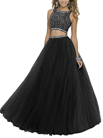 Fanmu Womens Beaded Two Piece A line Tulle Prom Dresses Evening Gown Black ...