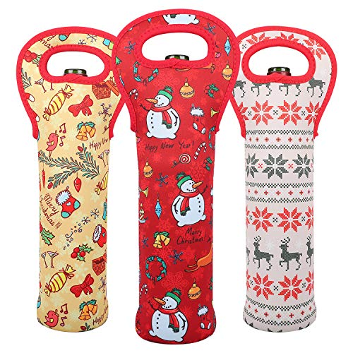 3 Pack Christmas Wine Tote Bag,Wine Carriers and Holders,Durable Neoprene Wine Bottle Protector for Home Travel/Picnic or Gift Bag(Elk,Snowman and Christmas Tree)