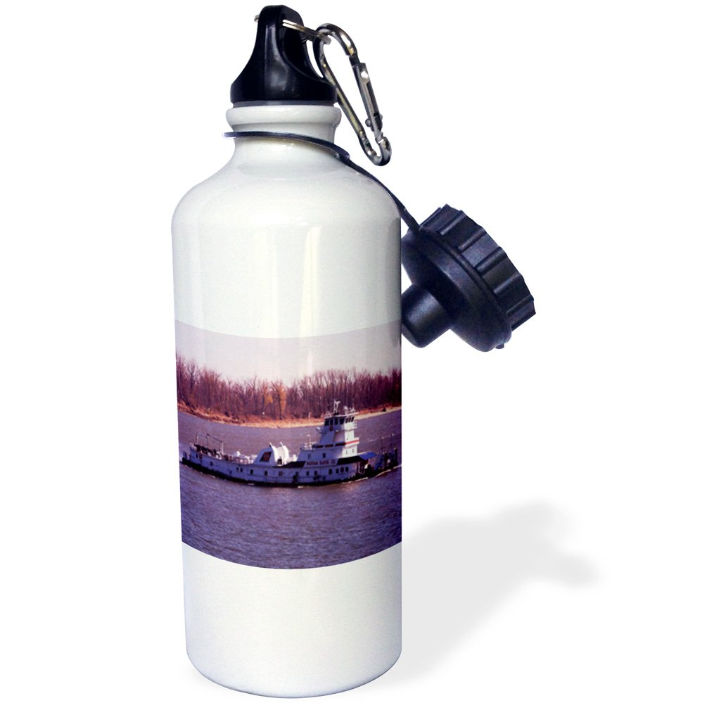 21 oz 3dRose wb/_26418/_1 Tugboat Ohio River Sports Water Bottle White