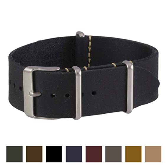 4f07b918fbc Benchmark Straps 24mm Black Oiled Leather NATO Watchband (More Colors  Available)