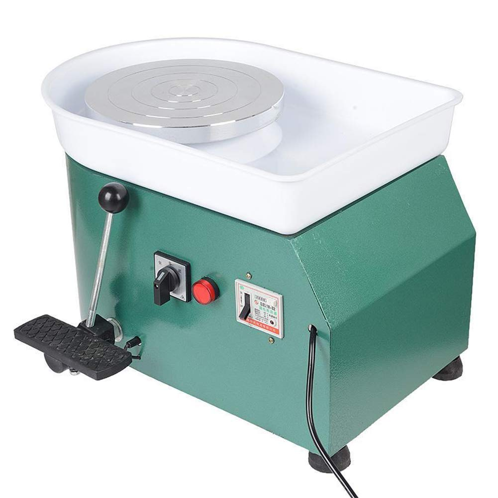 NAIZEA Electric Pottery Wheel Machine with Adjustable feet, 9.8 Inch Pottery Wheel DIY Machine for Clay Art Craft Ceramic Work, 110V250W (Green)