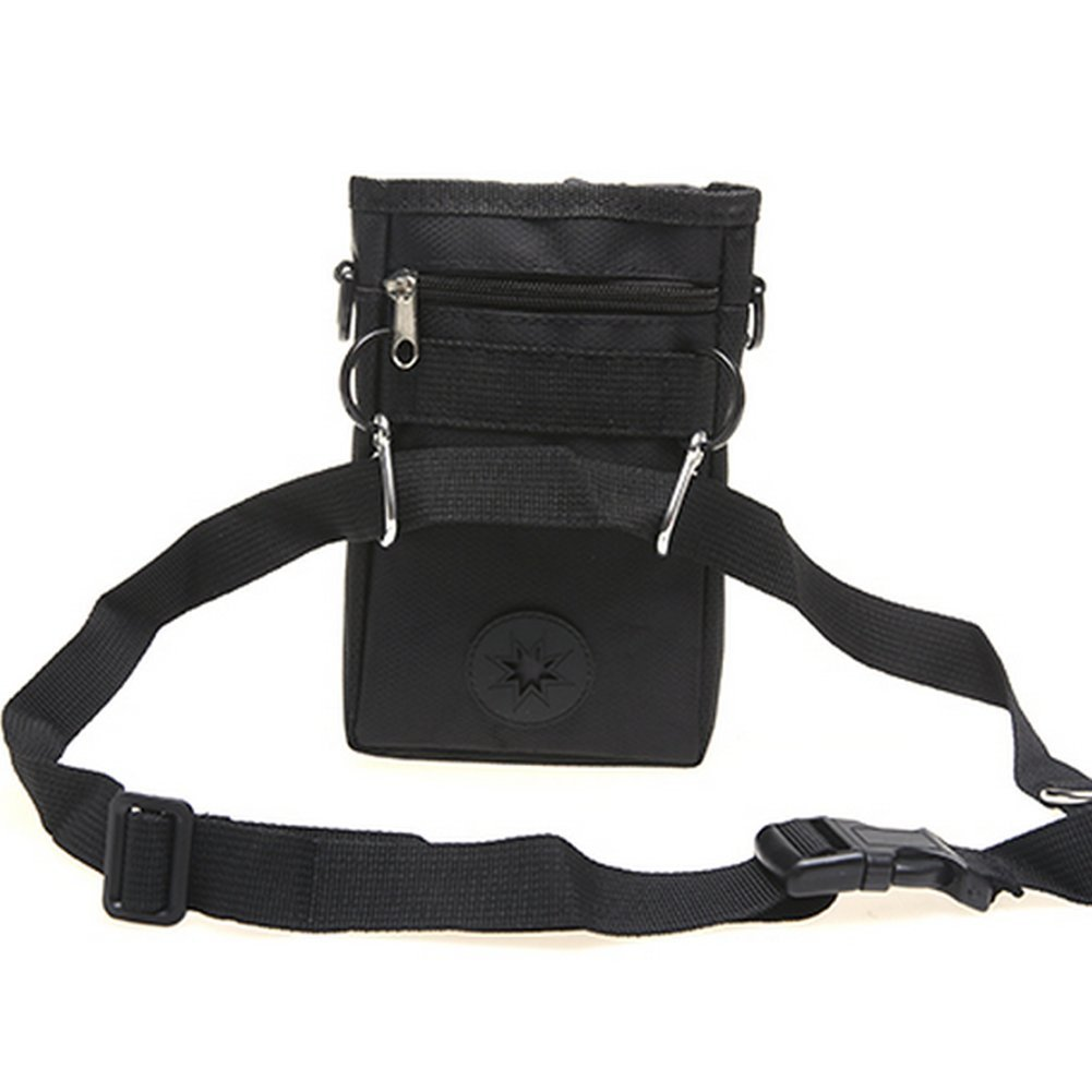 Mengshou Dog Treat Training Pouch Easily Carries Pet Toys, Keys, Treats,Kibbles,Built-In Poop Bag Dispenser,3 Ways To Wear Adjustable Shoulder Belt (Black) by Mengshou (Image #2)