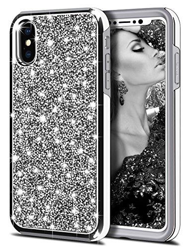 HoneyAKE Case for iPhone X Case iPhone Xs Case Bling Rhinestone Diamond Sparkly Crystal Handmade Shockproof Soft Bumper Hybrid Protective Phone Case Cover for iPhone X iPhone Xs iPhone 10, Silver