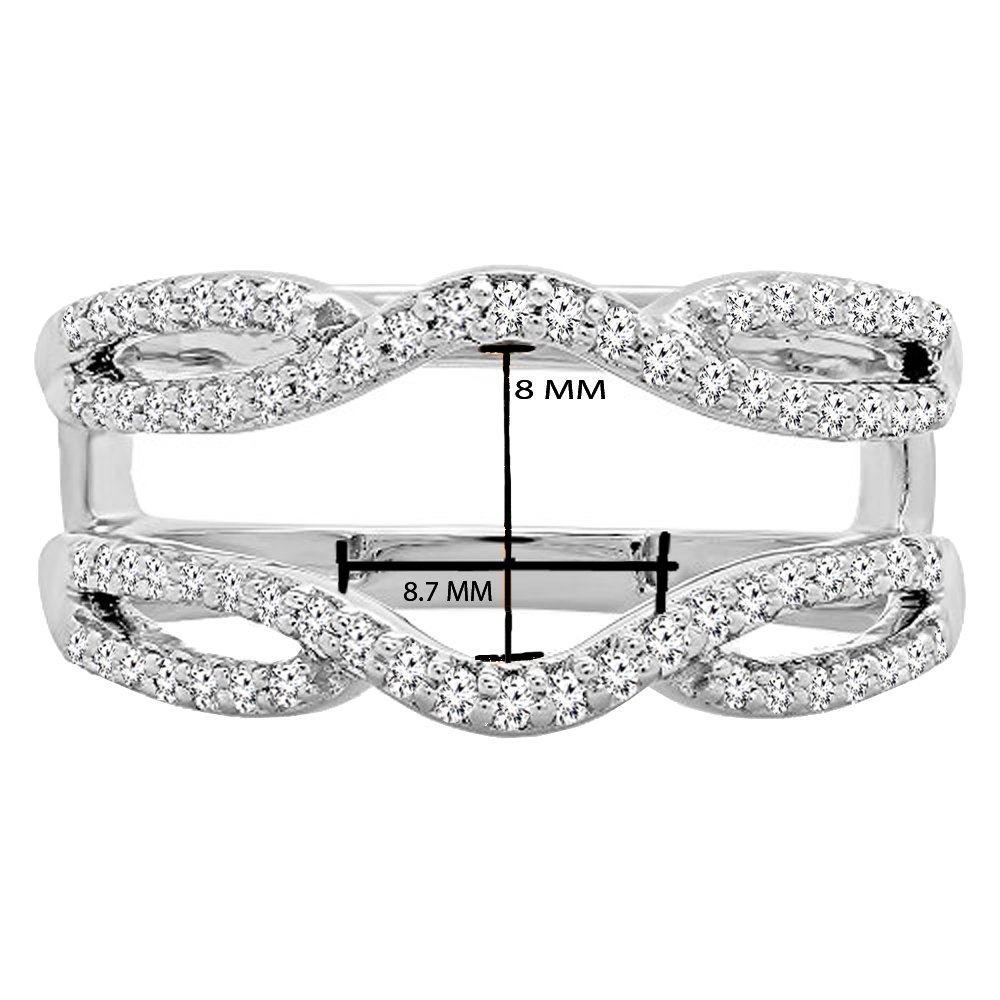 Dazzlingrock Collection 0.35 Carat (ctw) 10K White Diamond Wedding Band Enhancer Guard Double Ring 1/3 CT, White Gold, Size 6.5 by Dazzlingrock Collection (Image #3)