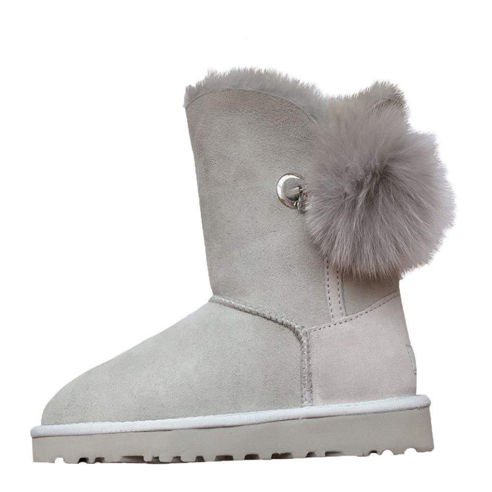 HhGold Weibliche Wasserdichte Anti-Fouling Schneeschuhe Warme Baumwolle Stiefel (Farbe   Grau Größe   35EU)