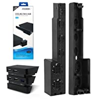PS4 Pro Cooler & USB Hub BECROWM 2 In 1 Super Turbo High Speed Cooling Fan with USB Hub 3.0 & 2.0 USB Port Game Console Extend USB Adapter for PlayStation 4 Pro