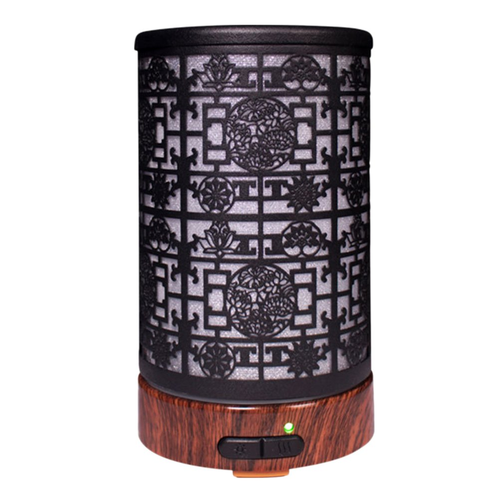 VORCOOL Small Air Humidifier Night Light Aroma Diffuser Oil Diffuser Chinese Window Iron Art Air Diffuser Purifier Mist Maker 100ML US Plug