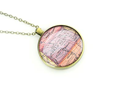 1950 vintage North Dakota map necklace ND round silver pendant forever love gift for mother