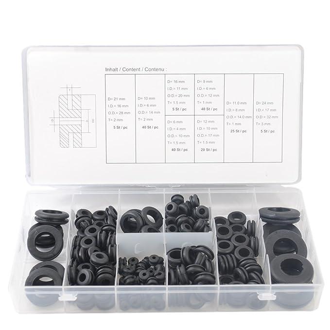Sortiment-Box Gummi-Tülle Set Kabel Durchlass Satz Durchführungsstüllen 180-tlg