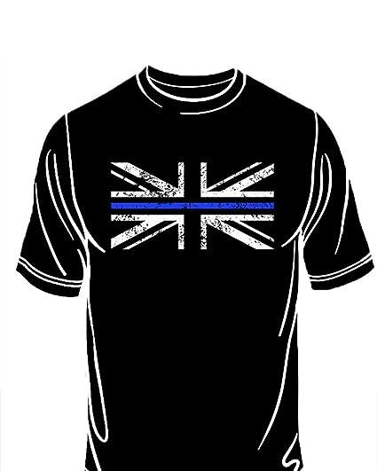 a5bfe0d5 Thin Blue Line - Police - Union Jack T - Shirt: Amazon.co.uk ...