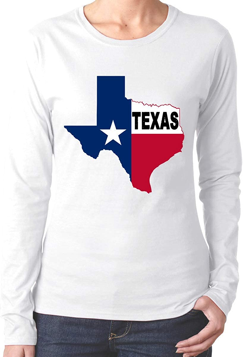 Texas Flag Map Comfortsoft Camiseta de algodón de Manga Larga para Mujer: Amazon.es: Ropa y accesorios