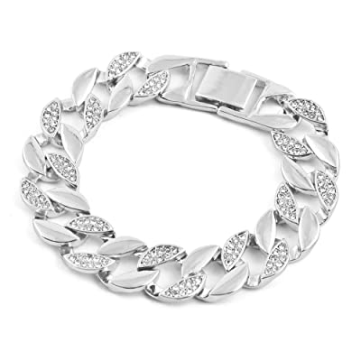 RENYZ.ZKHN Men'S Bracelet And Half Cuban Chain Is Popular With Men'S Hand Bracelet