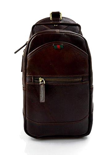 Bolso mochila marron oscuro de cuero bolso de hombre bolso de mujer mochila de piel bolso