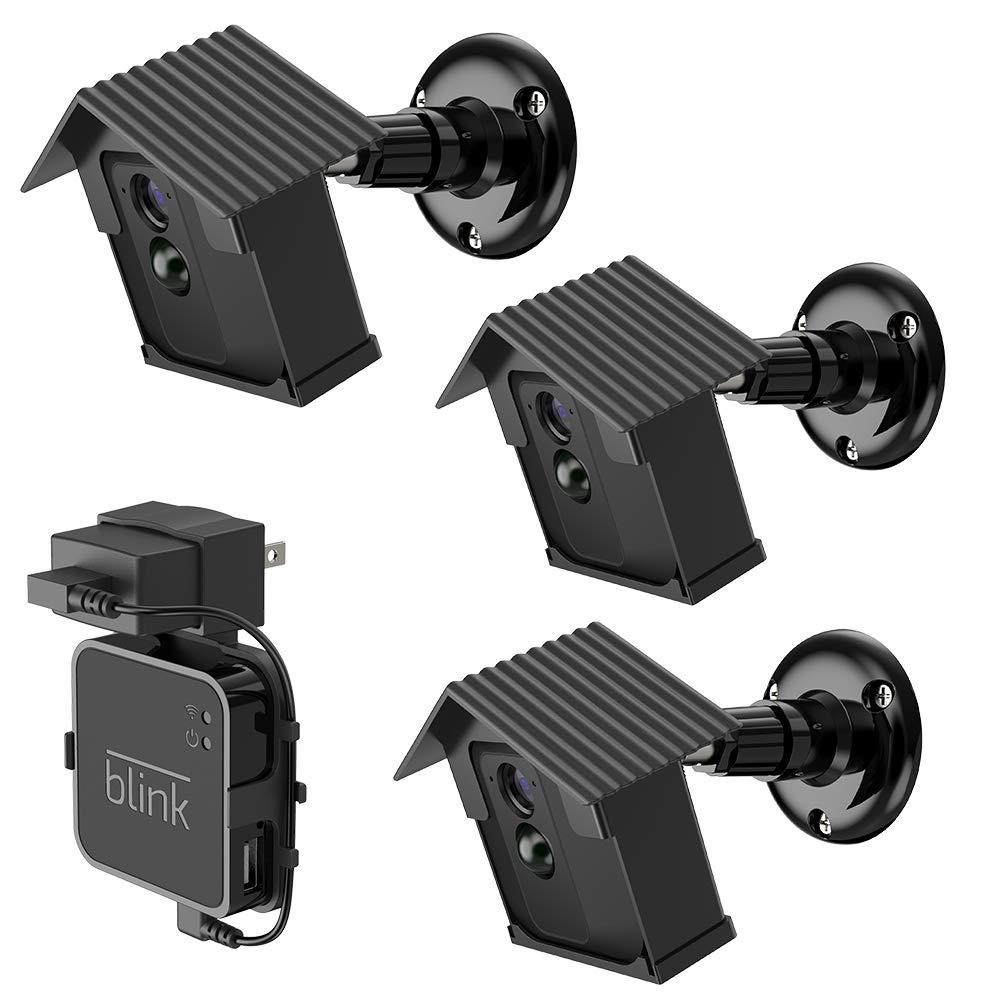 EEEKit 3-Pack Hard Case Mount Bracket for Blink XT Camera, Weather Proof 360 Degree Adjustable Indoor/Outdoor Mount, Extra 1-Pack Outlet Wall Mount Hanger Holder for Blink Sync Module