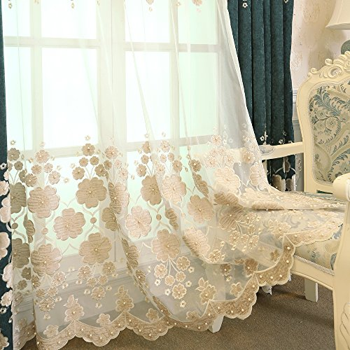 pureaqu Extra Wide Embroidered Beaded Sheer Curtain Panels for Sliding Glass Door Rod Pocket European Floral Voile Window Treatment Tulle Draperies for Bedroom Off White 1 Panel W100 x H96 Inch ()