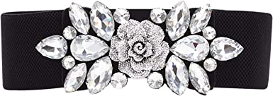 WedDecor Women's Black Stretch Waist Belt with Floral Diamante Arrangement Wide Elastic Band Cinch, Fastening, Trimmer One Size Fits All Girl's