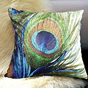 Uphome elegent feather of peacock velvet - Fabric for throw pillows ...
