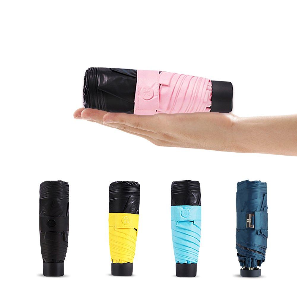 LOPLAY Mini Sun Parasol Lightweight Travel Umbrella, 99% UV Protection Small Compact Folding Sun Rain Umbrella UPF 50+ (Pink)