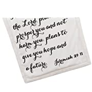 Luxuriously Soft Scripture Throw Baby Blanket | Jeremiah 29:11 | 30x40 inches | Ivory Fleece Ivory Sherpa