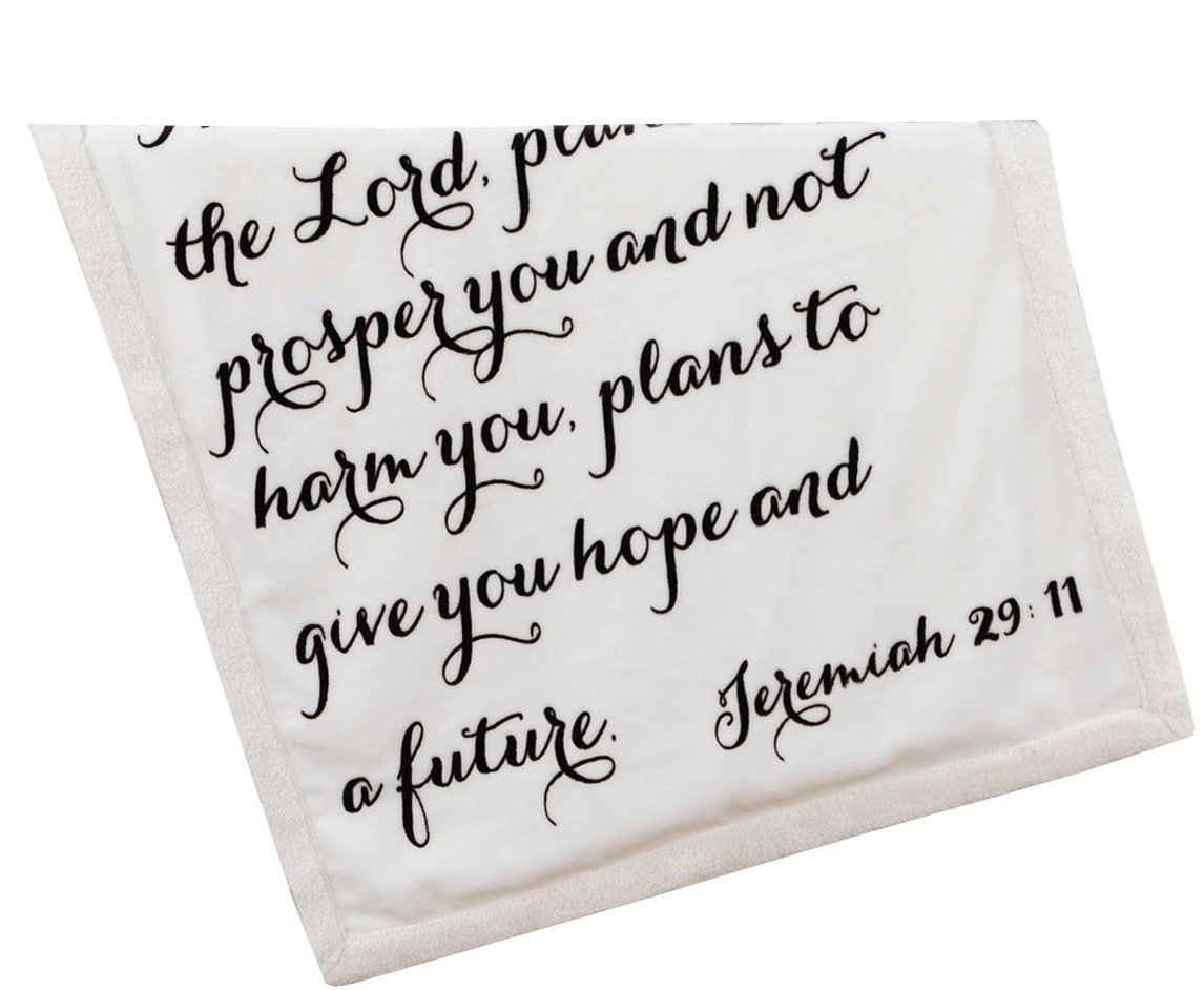Religious Scripture Throw Blanket for Baby or Children | Jeremiah 29:11 | Best Boy or Girl Shower or Birthday Gift | Ivory on Ivory Fleece Sherpa