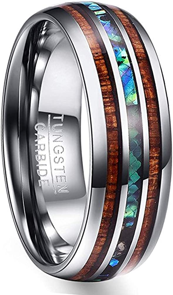 VAKKI 8mm Hawaiian Koa Wood and Abalone Shell/Blue Inlay Tungsten Carbide Rings Wedding Bands for Men Comfort Fit Size 4 to 17