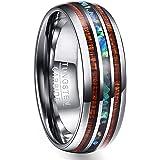 Vakki 6mm/8mm Hawaiian Koa Wood Tungsten Rings Dome Abalone Shell/Blue Center Wedding Bands for Men Women Comfort Fit Size 4