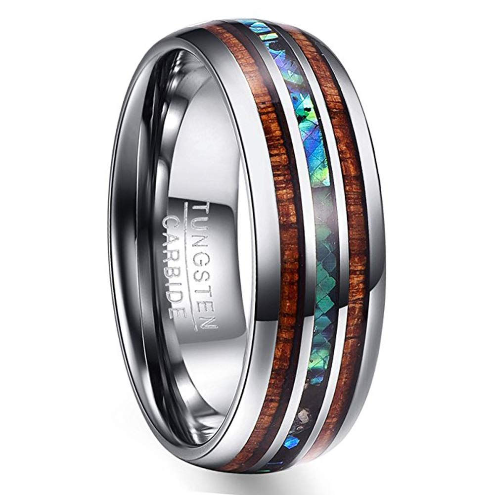 Vakki 8mm Hawaiian Koa Wood and Abalone Shell Tungsten Carbide Rings Wedding Bands for Men Comfort Fit Size 4 to 17 T025R-P