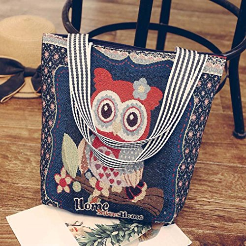 Retro Canvas Handtasche HARRYSTORE Damen Owl Printed Canvas Cartoon Handtasche Schultertasche Umhängetasche Damen Satchel Tote Bags (E) B