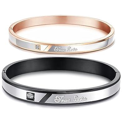 bas prix c28f0 4d487 Jstyle Bijoux Bracelet pour les Couple Amoureux en Acier Inoxydable  Antiallergie - Promesse gravée - Cadeau Saint Valentin
