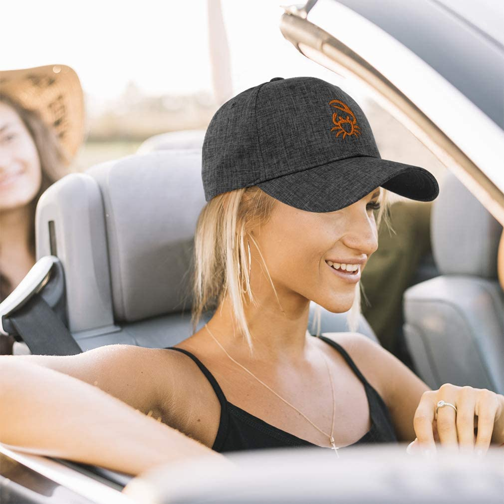 Custom Baseball Cap Orange Cool Crab Embroidery Casual Hats for Men /& Women