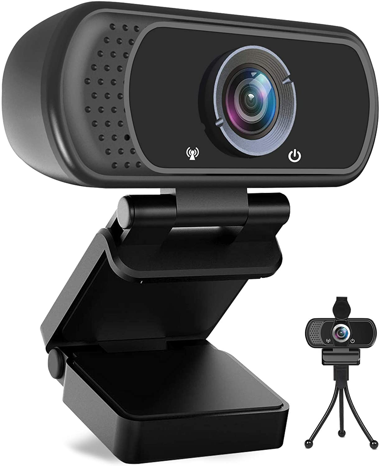 Full HD Video Camera for Computers PC Laptop Desktop Conference Study Video Calling HD1080P Webcam Skype Dual Built-in Microphones USB Plug and Play