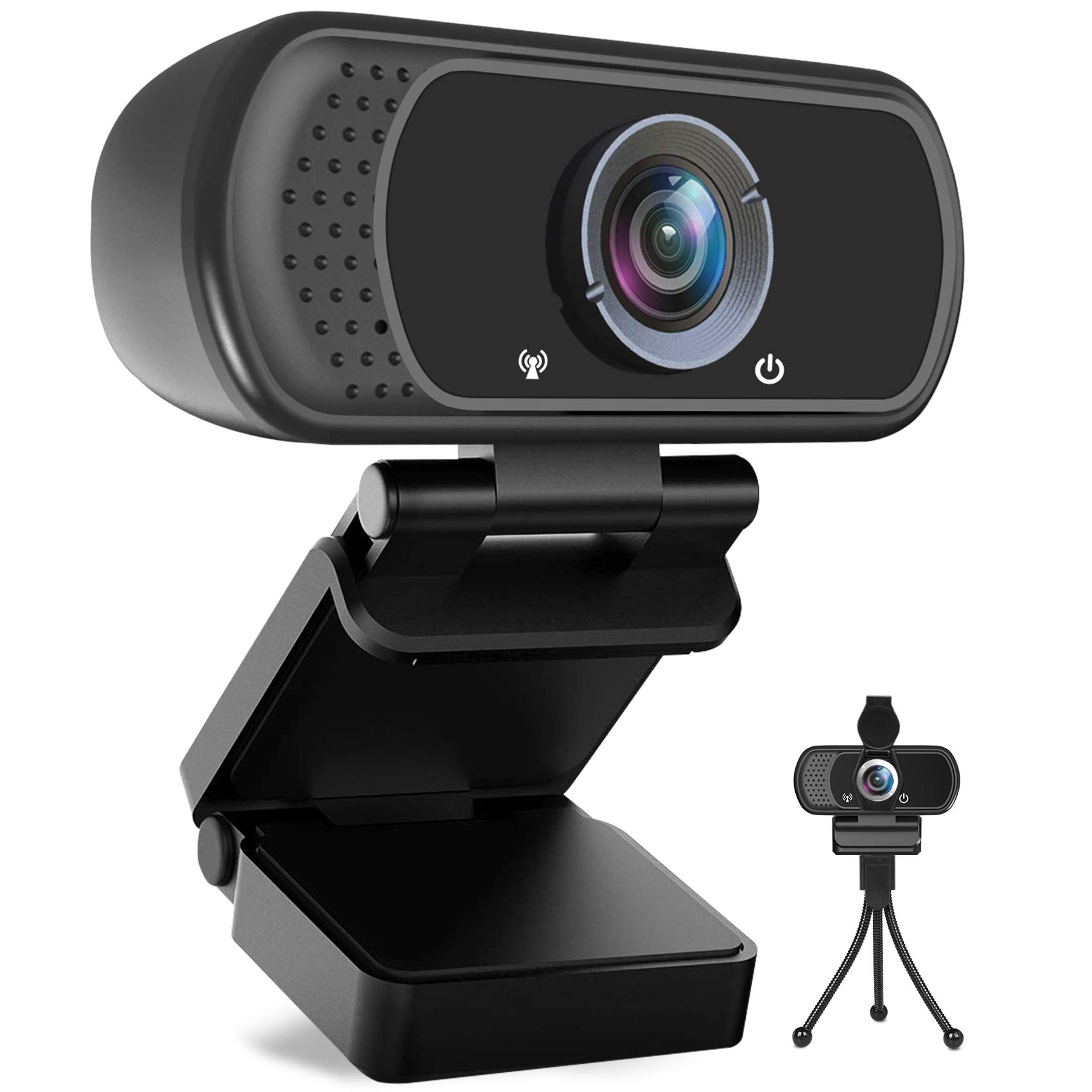 Avater HD Webcam 1080P with Microphone, PC Laptop Desktop USB Webcams 110-Degree Widescreen Web Camera with Rotatable Clip, Black (A-1)