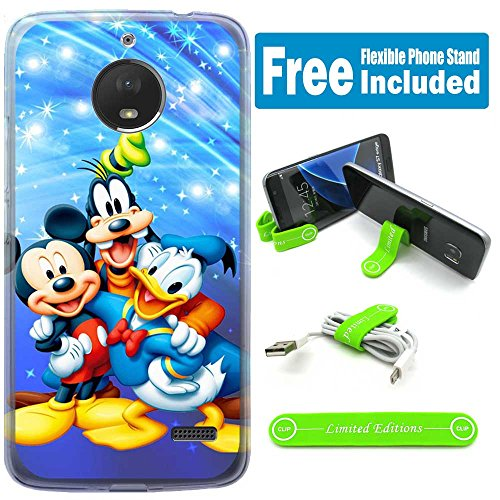 [Ashley Cases] For Moto E4 Cover Case Skin with Flexible Phone Stand - mickey mouse donald duck goofy
