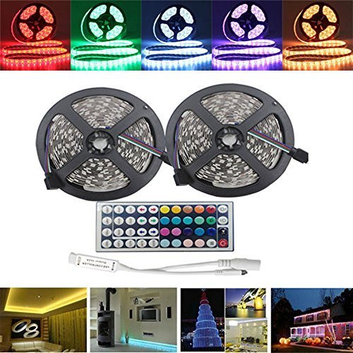 jiguoor 10M(25m) Super bright LED Strip Light SMD5050 with remote,Waterproof RGB LED Strip,Flexible Rope Tape Light Kit + 44 Keys IR Controller suitable for Home,Party,Bar,Kitchen