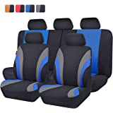 NEW ARRIVAL- CAR PASS Line Rider 11PCS Universal Fit Car Seat Cover -100% Breathable With 5mm Composite Sponge Inside,Airbag Compatible(Black And Blue)
