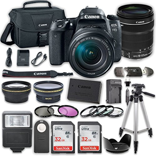 Canon EOS 77D DSLR Camera with Canon EF-S 18-135mm f/3.5-5.6