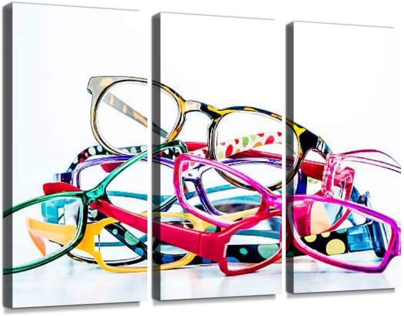 Fashion Eyeglasses with copyspace fashionables and Pictures Print On Canvas Wall Artwork Modern Photography Home Decor Unique Pattern Stretched and Framed 3 Piece